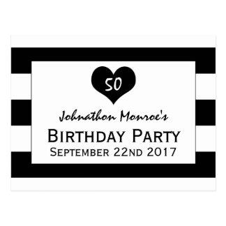 Invitación negra y blanca elegante moderna del postal