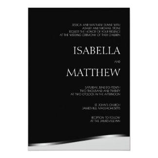 Invitación negra y blanca minimalista moderna del