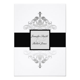 Invitación negra y de plata blanca del boda del