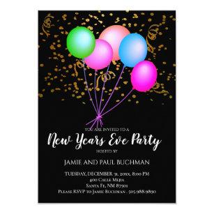 Invitación Neon Balloons Confetti Año Nuevo Fiesta