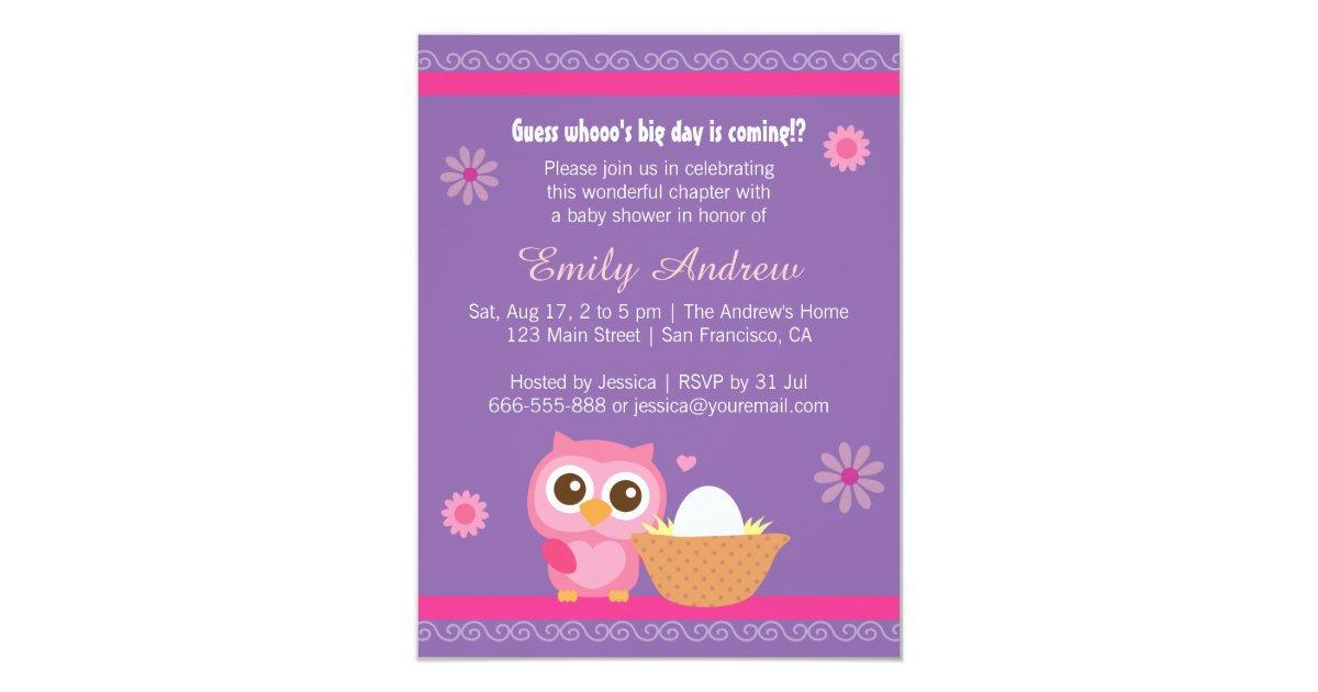 Invitación Niña, fiesta de bienvenida al bebé linda del búho   Zazzle.es