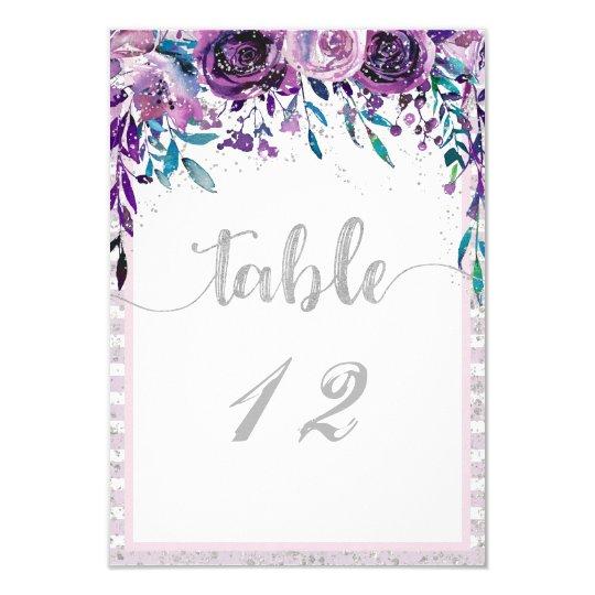 Invitación Números púrpuras de la tabla de la bodas de plata | Zazzle.es