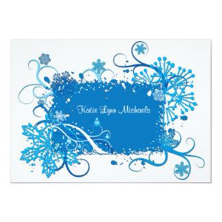 Invitación nupcial azul helada de la ducha invitación 12,7 x 17,8 cm