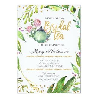 Invitación nupcial botánica de la fiesta del té