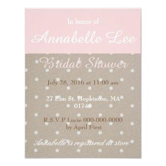 Invitación nupcial de color topo y rosada de la