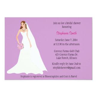 Invitación nupcial de la ducha con la novia
