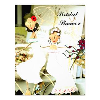 Invitación nupcial de la ducha de dos novias