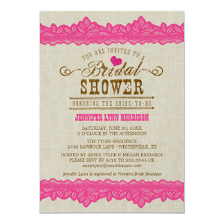 Invitación nupcial de la ducha de la arpillera invitación 12,7 x 17,8 cm