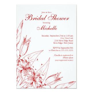 Invitación nupcial de la ducha de la flor roja