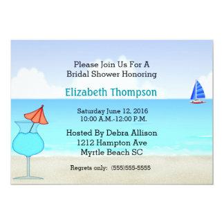 Invitación nupcial de la ducha de la playa