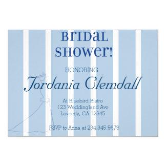 Invitación nupcial de la ducha de la raya blanca