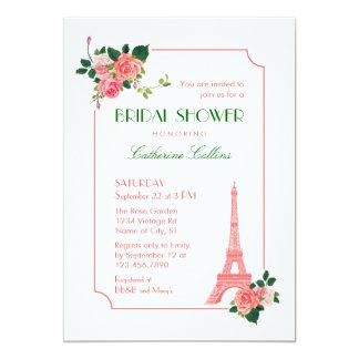Invitación nupcial de la ducha de la torre Eiffel Invitación 12,7 X 17,8 Cm
