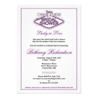 Invitación nupcial de la ducha de Las Vegas - púrp