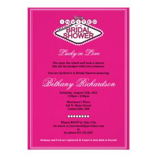 Invitación nupcial de la ducha de Las Vegas - rosa