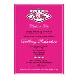 Invitación nupcial de la ducha de Las Vegas - rosa Invitación 12,7 X 17,8 Cm