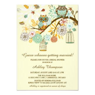 Invitación nupcial de la ducha de los búhos invitación 12,7 x 17,8 cm