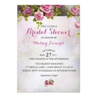 Invitación nupcial de la ducha de los rosas
