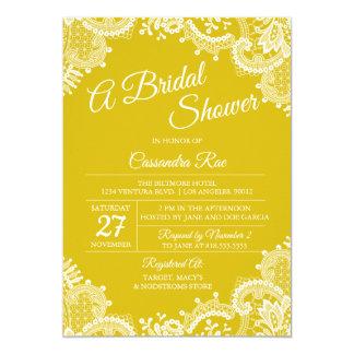 Invitación nupcial de la ducha del cordón amarillo