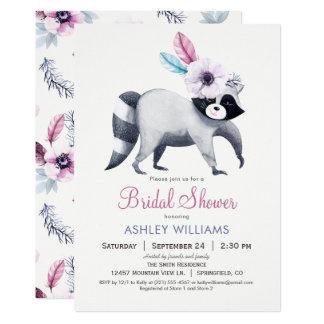 Invitación nupcial de la ducha del mapache
