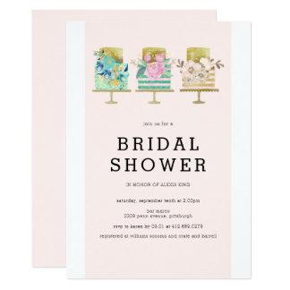 Invitación nupcial de la ducha del pastel de bodas