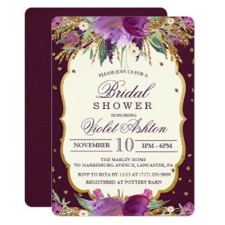 Invitación nupcial de la ducha del purpurina