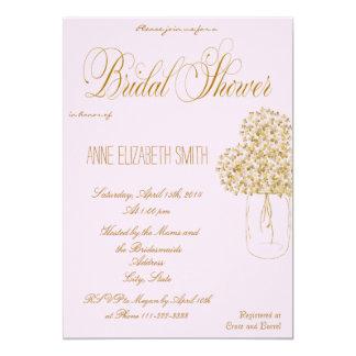 Invitación nupcial de la ducha del rosa del tarro