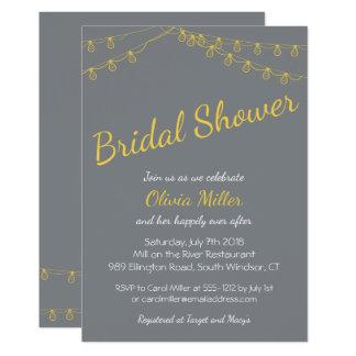 Invitación nupcial de la ducha en gris y amarillo