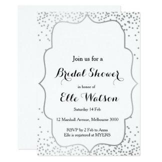 Invitación nupcial de plata de la ducha