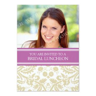 Invitación nupcial del almuerzo del damasco beige