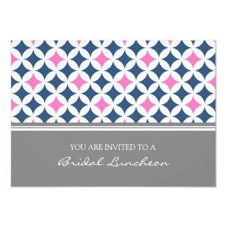 Invitación nupcial del almuerzo del modelo rosado