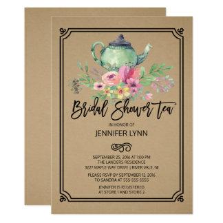 Invitación nupcial del té de la ducha de la