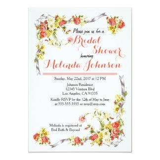 Invitación nupcial floral brillante de la ducha