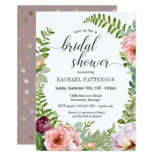 Invitación nupcial floral de la ducha de la