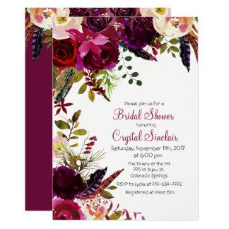 Invitación nupcial floral de la ducha del otoño de