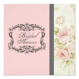 Invitación nupcial floral de la ducha del rosa
