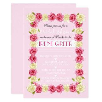 Invitación nupcial floral de la ducha del rosa y