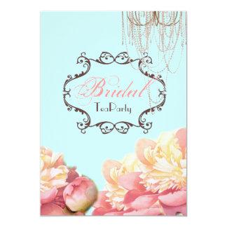 Invitación nupcial floral de la fiesta del té de
