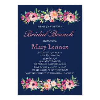 Invitación nupcial floral del brunch de los azules