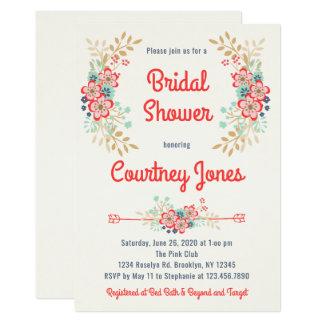 Invitación nupcial floral hermosa de la ducha