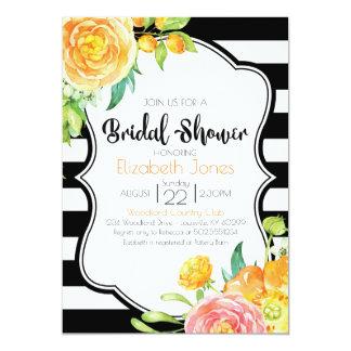 Invitación nupcial floral negra y blanca de la