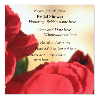 Invitación nupcial floral roja de la ducha