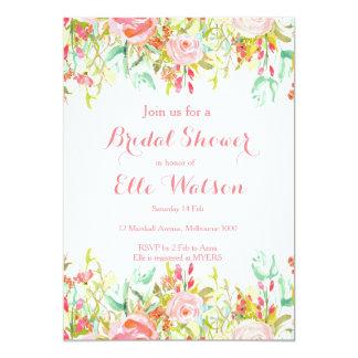 Invitación nupcial floral rosada de la ducha