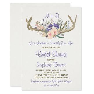 Invitación nupcial floral rústica de la ducha
