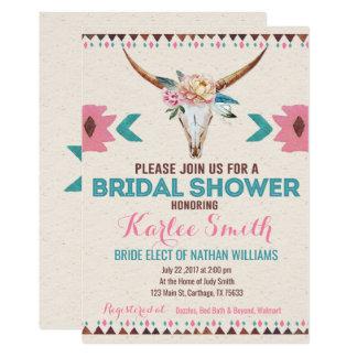 Invitación nupcial floral tribal de la ducha de
