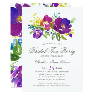 Invitación nupcial floral violeta romántica de la