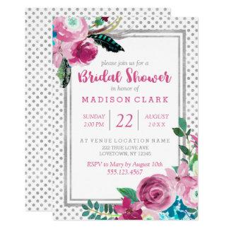 Invitación nupcial floral y de plata rosada