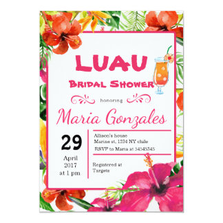 Invitación nupcial hawaiana de la ducha de Luau
