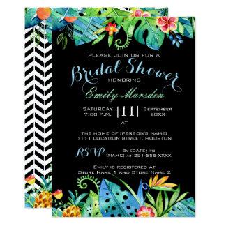 Invitación nupcial negra floral tropical de la