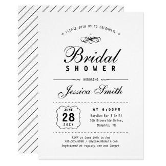 Invitación nupcial negra y blanca elegante de la