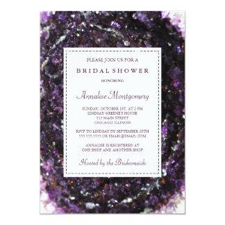 Tarjeta Invitación nupcial púrpura Amethyst de la ducha de